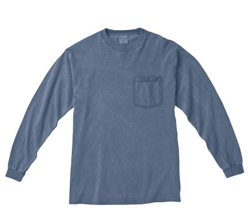 Pigment Dyed Long Sleeve Tee - blue